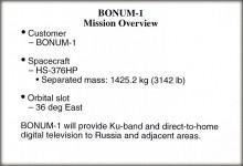 Краткое описание спутника Bonum-1, который  будет использоваться телекомпанией «НТВ-Плюс» для цифрового вещания на европейскую территорию России
