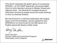 Дэрил Ван Дорн, директор коммерческих программ NASA, верил в успех запуска спутника Bonum-1, который «НТВ-Плюс» в 1997 г. заказал  у американской фирмы Hughes Space & Communications International Inc.